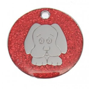 Red Dog Glitter Dog Pet Tag