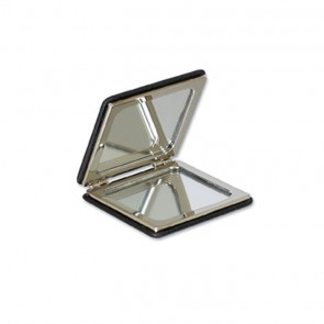 Black Leather Square Compact Mirror