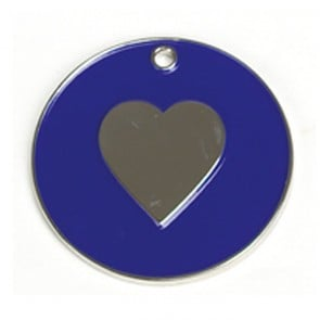 Dark Blue Heart Cat Pet Tag
