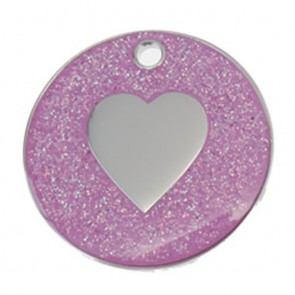 Pink Heart Glitter Dog Pet Tag