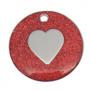 Red Heart Glitter Dog Pet Tag