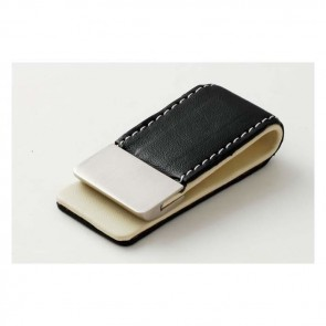 Black Leather Effect Money Clip