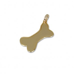 Medium Gold Plated Dog Bone Pet Tag