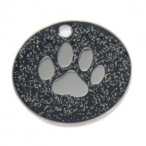 Black Paw Glitter Dog Pet Tag