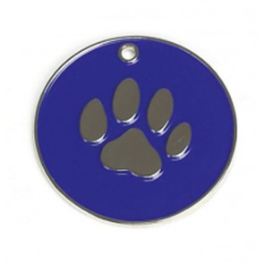 Dark Blue Paw Dog Pet Tag