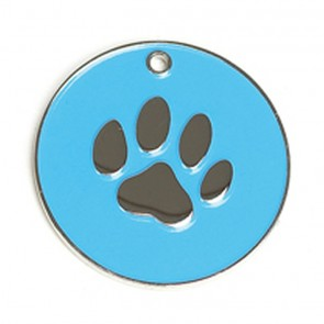 Light Blue Paw Dog Pet Tag