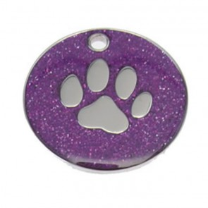 Purple Paw Glitter Dog Pet Tag