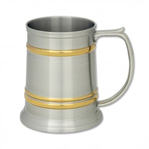 400Ml Pewter Gold Bands Tankard
