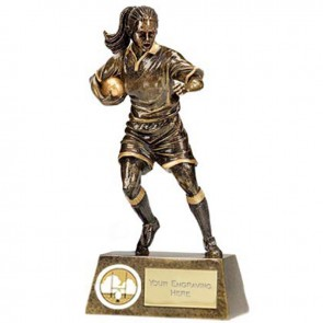 7 Inch High Detail Female Player Rugby Pinnacle Statue