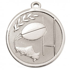 45mm Silver Goal Kick Rugby Galaxy Medal