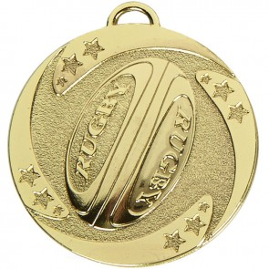 50mm Gold Detailed Ball Rugby Target Medal