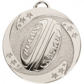 50mm Silver Detailed Ball Rugby Target Medal