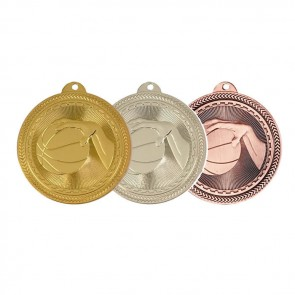 50mm Silver Basketball Medal