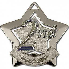 60mm Silver Finish Mini Star 2Nd Place Medal