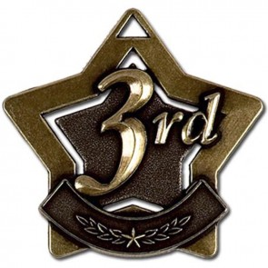 60mm Bronze Finish Mini Star 3Rd Place Medal
