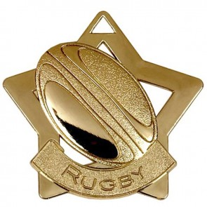 60mm Gold Mini Star Rugby Medal