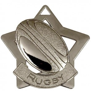 60mm Silver Mini Star Rugby Medal