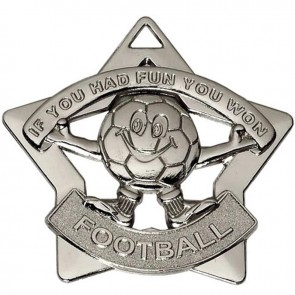 60mm Mini Star Football Silver Medal