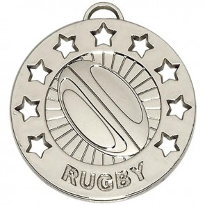 40mm Silver Spectrum Rugby Medal