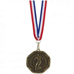 45mm Antique Gold Player Football Combo Medal