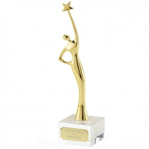 10 Inch Gold Reaching for Stars Celestial Statue