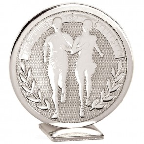 60mm Free Standing Silver Running Global Medal