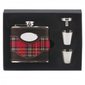 6oz Tartan Flask with two cups Vision Drinking Set