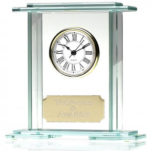 6 Inch Rectangle Shaped Glass Clock