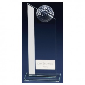 8 Inch Angled Top Golf Colony Glass Award
