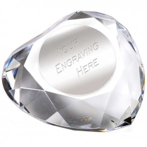 95mm Heart Faceted Paperweight Paperweight Award