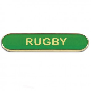 Green Rugby Rectangle School Metal Pin Badge