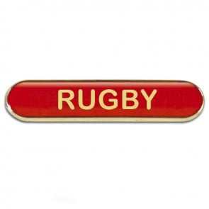 Red Rugby Rectangle School Metal Pin Badge