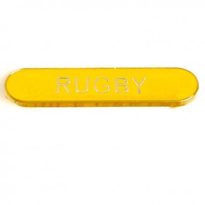 Yellow Rugby Rectangle School Metal Pin Badge
