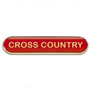 Red Cross Country Rectangle School Metal Pin Badge