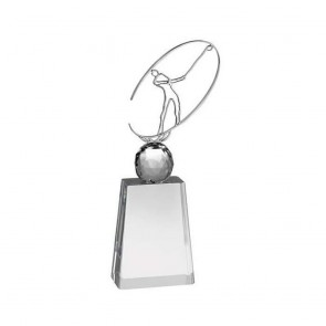 10 Inch Metal Swing Figure Golf Optical Crystal Award