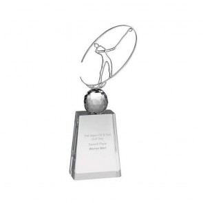 11 Inch Metal Swing Figure Golf Optical Crystal Award