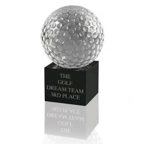 4 Inch Swatkins Golf Ball And Base Small Optical Crystal Golf Award