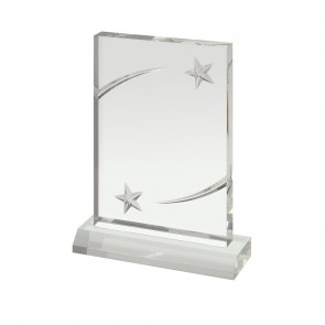 7 x 5 Inch Clear With Embossed Stars Acrylic Award