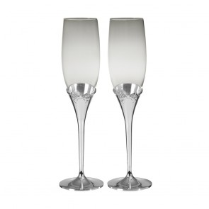 10 Inch Crystal Bow Wedding & Anniversary Occasions Champagne Flutes
