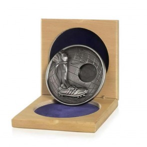 86mm Silver Football Centre Cased Medal