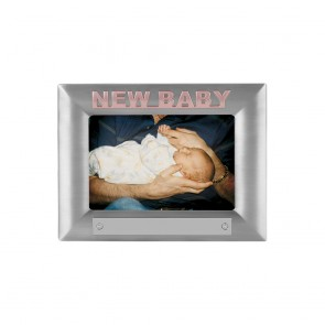 7 x 5 Inch Tall Pink New Baby Christening Jaunlet Photo Frame