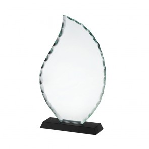 9 Inch Clear & Black Flame Crystal Award