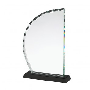 9 Inch Curved Patterned Edge Crystal Award