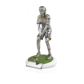9 Inch On The Green Female Golf Golden Lion Figure Award