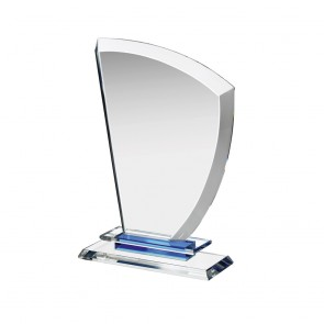 7 Inch Curved Side Sail Clear & Blue Crystal Award