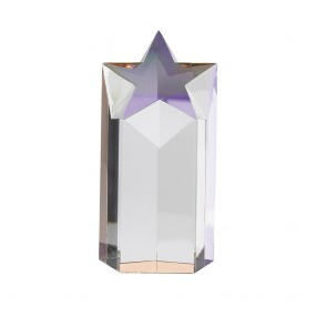 7 Inch Tall Star Podium Optical Crystal Award