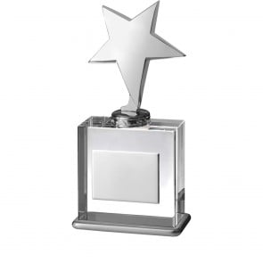 8 Inch Metal Star On Clear Square Timezone Award