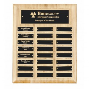 13 x 11 Inch Bamboo With 24 Brass Plates Victory Plaque