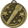 50mm Bronze Microphone Star Music Target Medal