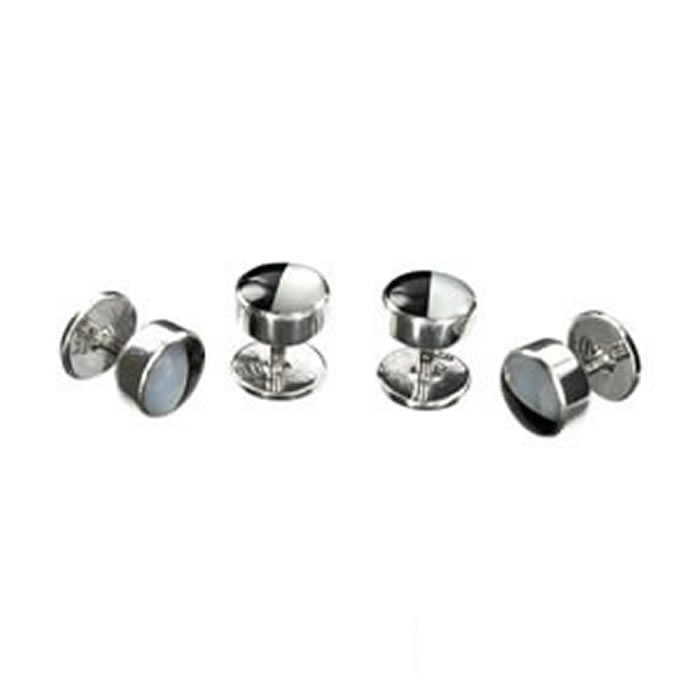 Sterling Silver Black And White Half Mop Dress Studs